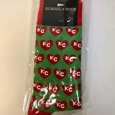 Green Sock with red KC hearts